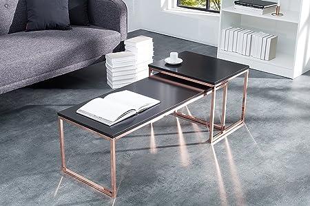Couchtisch Beistelltisch Wohnzimmertisch 2er Set BOOGIE 100cm schwarz matt kupfer