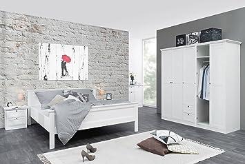 Schlafzimmer,Schlafzimmer-Set, Schlafzimmermöbel, Landhausstil, Bett, Doppelbett, Kleiderschrank, Nachttisch, Liegefläche ca. 180 x 200 cm