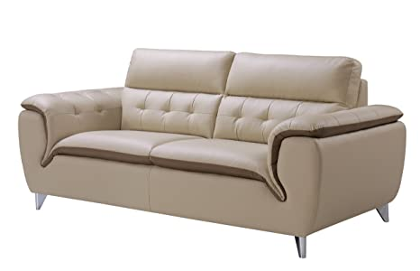 Global Furniture Natalie Sofa, Khaki and Dark Cappuccino
