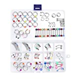 Lot 120 PCS Piercing Kit Belly Ring Labret Tongue Ring Eyebrow Tragus Barbells 14G,16G Mix Body Jewelry (Color: 120 Mixed Body Jewelry)