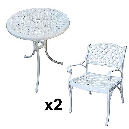 Lazy Susan - Table bistro 60 cm EVE et 2 chaises de jardin - Salon de jardin en aluminium moulé, Blanc (chaises KATE)