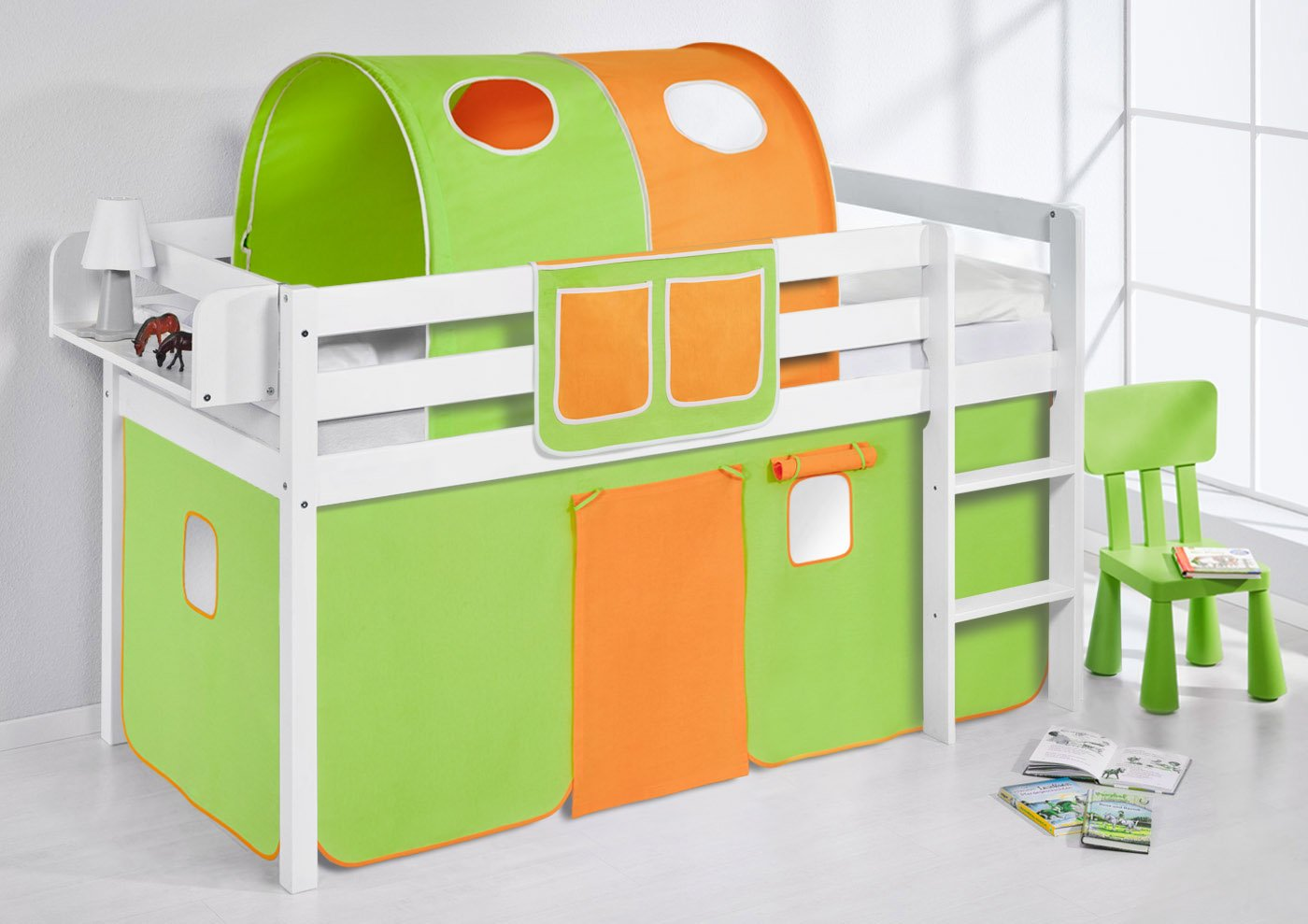 Spielbett JELLE Grün Orange Lilokids Hochbett LILOKIDS weiß mit Vorhang Grün-Orange Weiß kiefer jetzt bestellen