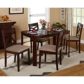 Cavendish 5 Piece Verbena Dining Set Includes Dining Table and 4 Upholstered Chairs Espresso
