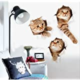 ZRSE 3D Removable Cartoon Animal Cats Large Wall Stickers | Easy to Peel Easy to Stick Safe on Painted Walls | Cute Catty Decor Posters for Nursery Room, Toilet, Kitchen, Offices etc. (15.7 X 28.7 IN) (Color: Cute Cats)
