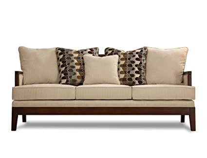 Homelegance 9918FA-3 Dalton Collection Sofa, Beige Chenille-like Corded Microfiber with Show-wood Frame
