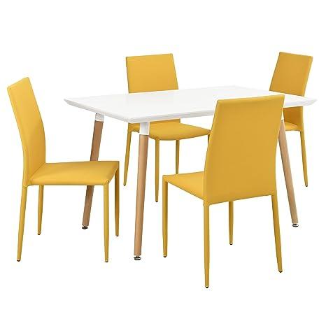 [en.casa] Set de comedor elegante: mesa blanca mate (120x80cm) con 4 sillas color mostaza tapizadas - mesa de cocina, de salón