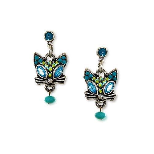 blue cat earrings