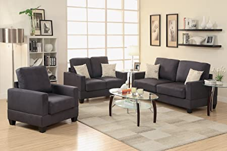 3-Pcs Sofa Set Upholstered in Ebony Microsuede by Poundex