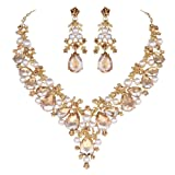 Youfir Bridal Rhinestone Simulated Pearl Necklace Earring Jewelry Set for Brides Wedding Party Dress(Pearl-Champagne) (Color: Pearl-Champagne)
