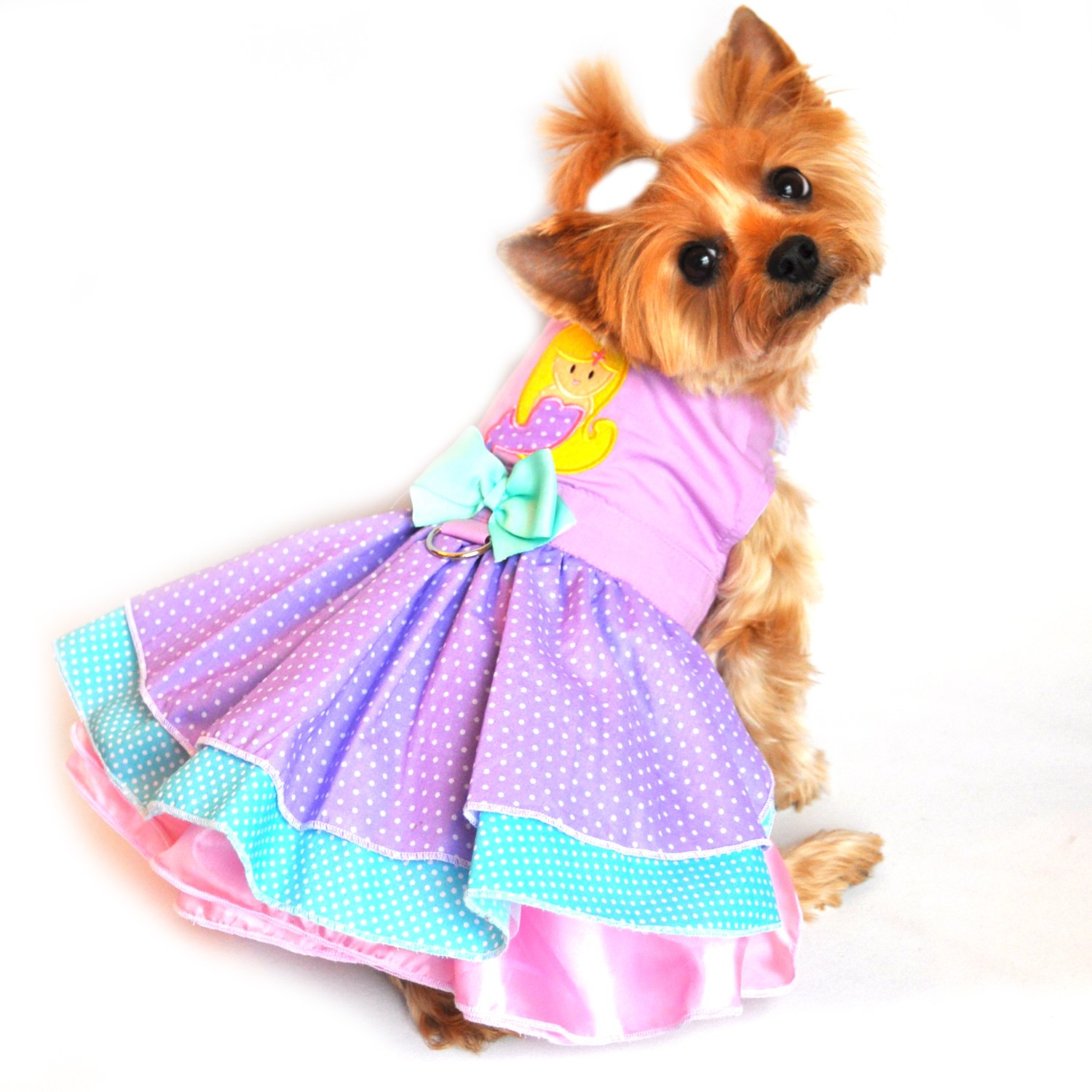Doggie Design Lavender Mermaid/Polka Dot Party Harness Dress for small dogs in Size Medium (Chest 16-19