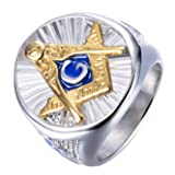 Rinspyre Men's Stainless Steel Blue Lodge Compass Ruler Freemason Symbol Masonic Rings Master Mason Band Size 11