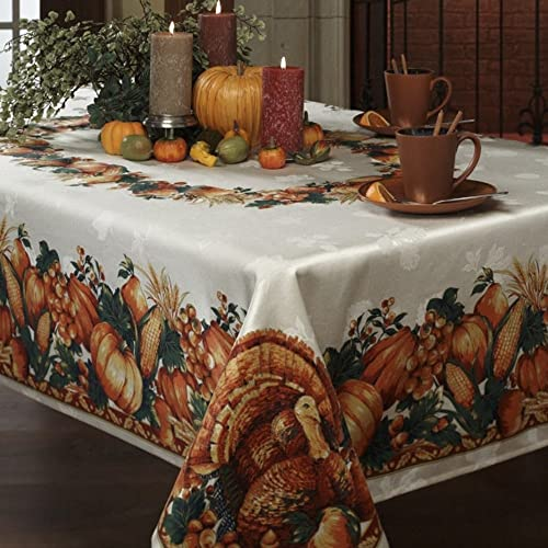Benson Mills Harvest Splendor Engineered Printed Fabric Tablecloth 60-Inch-by-120 Inch