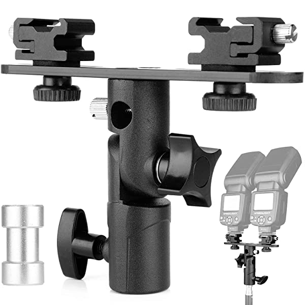 ChromLives Dual Flash Bracket Hot Shoe Speedlight Stand Umbrella Holder Light Stand Bracket Mount 1/4 to 3/8'' Compatible with Studio Video DSLR Came