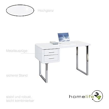 Schreibtisch edel und modern mit 2 Schubladen weiß Hochglanz Metall verchromt MDF