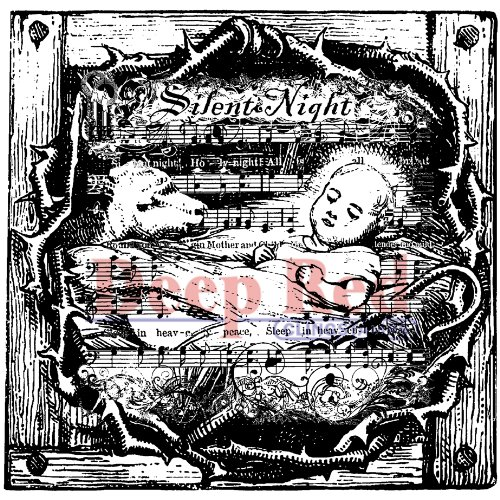Deep Red Stamps Silent Night Rubber Stamp - 1
