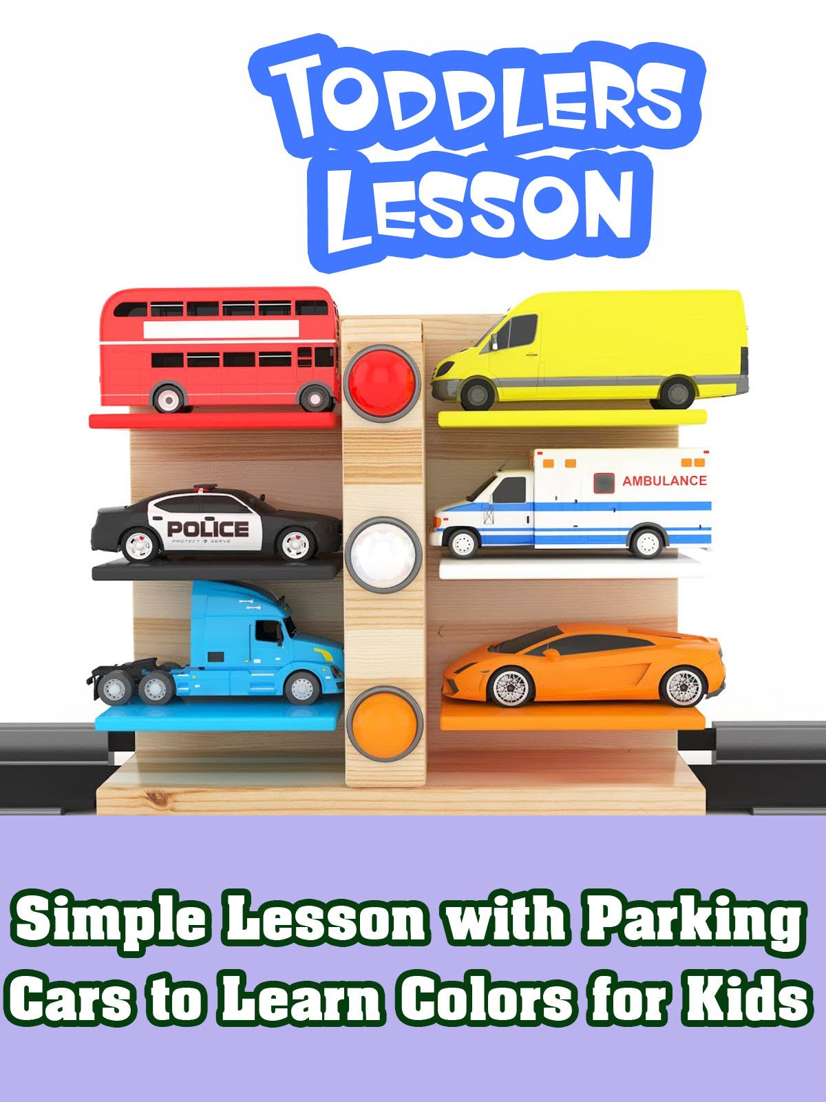 Simple Lesson with Parking Cars to Learn Colors for Kids
