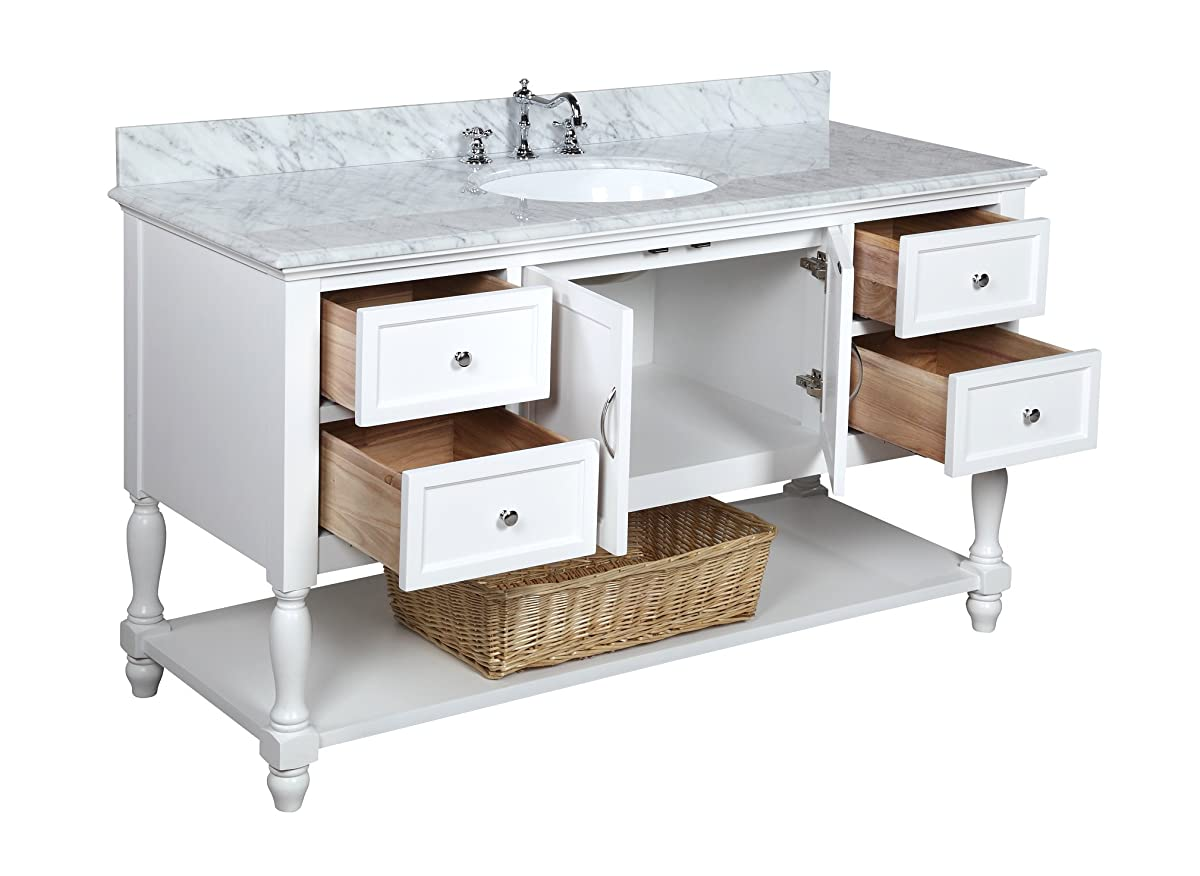 Kitchen Bath Collection KBC227WTCARR Beverly Single Sink Bathroom Vanity with Marble Countertop, Cabinet with Soft Close Function and Undermount Ceramic Sink, Carrara/White, 60""