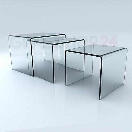 Glastisch 3er Set - (B/T/H) 60x44x45 - 52x44x41 - 40x44x37cm | In einem Stuck gebogen