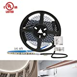 HitLights Cool White LED Light Strip, Premium High Density 3528-16.4 Feet, 600 LEDs, 5000K, 164 Lumens per Foot. UL-Listed. 12V DC Tape Light (Color: 600led 5000k 164lumen/Ft)