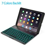Favormates Keyboard Case for iPad 2018 (6th Gen) - iPad 2017 (5th Gen) -iPad Air 1 - Thin & Light - Aluminum Alloy - Wireless/BT - Backlit 7 Color - iPad Case with Keyboard (only for 9.7 inch ipad) (Color: Black)