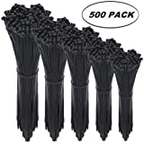 Cable Zip Ties,500 Packs Self-Locking 4+6+8+10+12-Inch Width 0.16inch Nylon Cable Ties,Perfect for Home,Office,Garage and Workshop (Black) (Color: Black)
