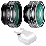 Neewer 3-in-1 Clip-on Lens for iPhone X 8 7 6, Android Tablets, iPad, Samsung Galaxy etc: 180° Fisheye Lens; 2-in-1 Macro Lens and Wide Angle Lens+Soft Rubber Lens Holder (Color: 3-in-1 Lens Kit)