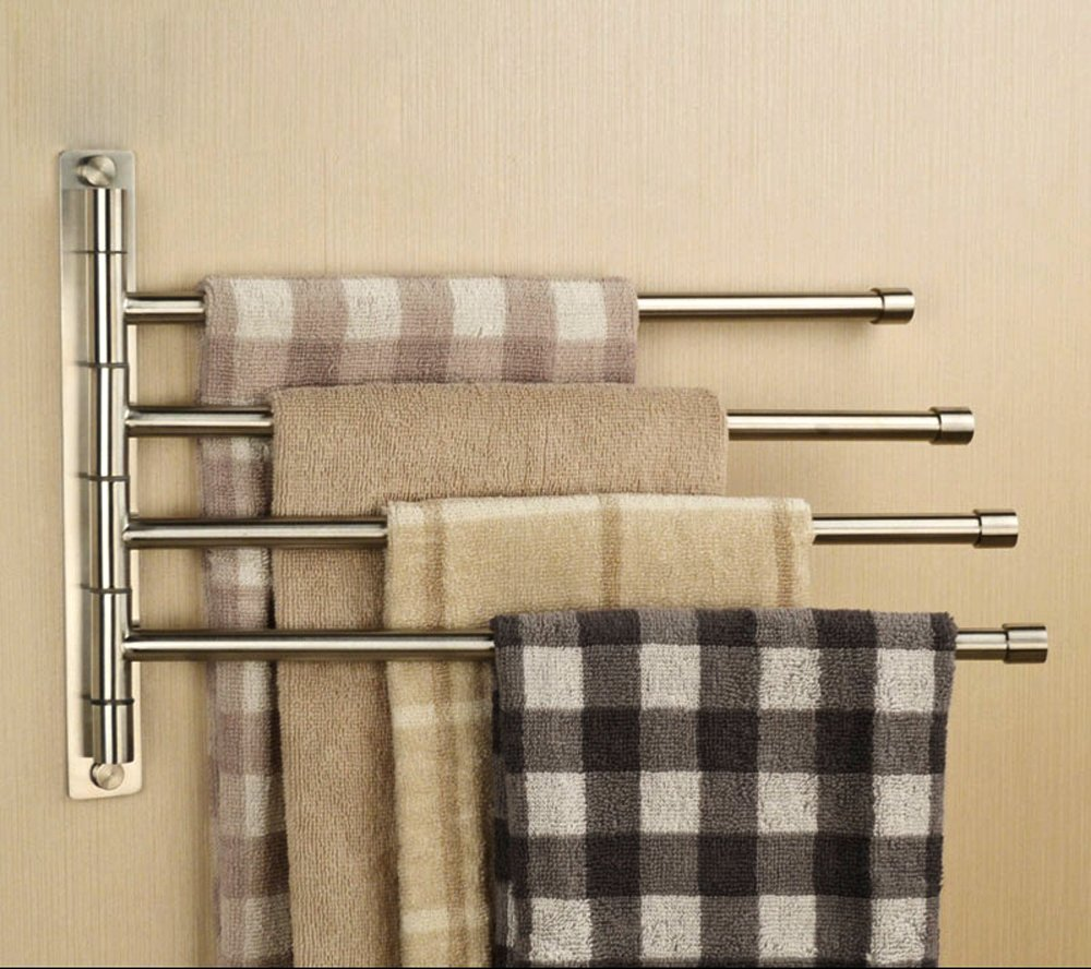 towel bars wall mounted single multiple and swing - sumnacon™ silver stainless steel wallmounted towel rail swivel barsbathroom towel rack hanger holder organizer ( bar)
