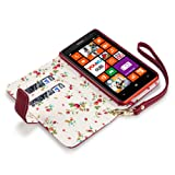 Nokia Lumia 625 Premium Faux Leather Wallet Case with Floral Interior (Red)