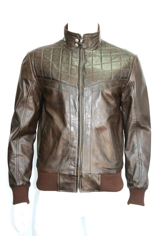 """Man braun quilt Stil bomber """"Soft Real leather jacket alle Größen jetzt kaufen"""