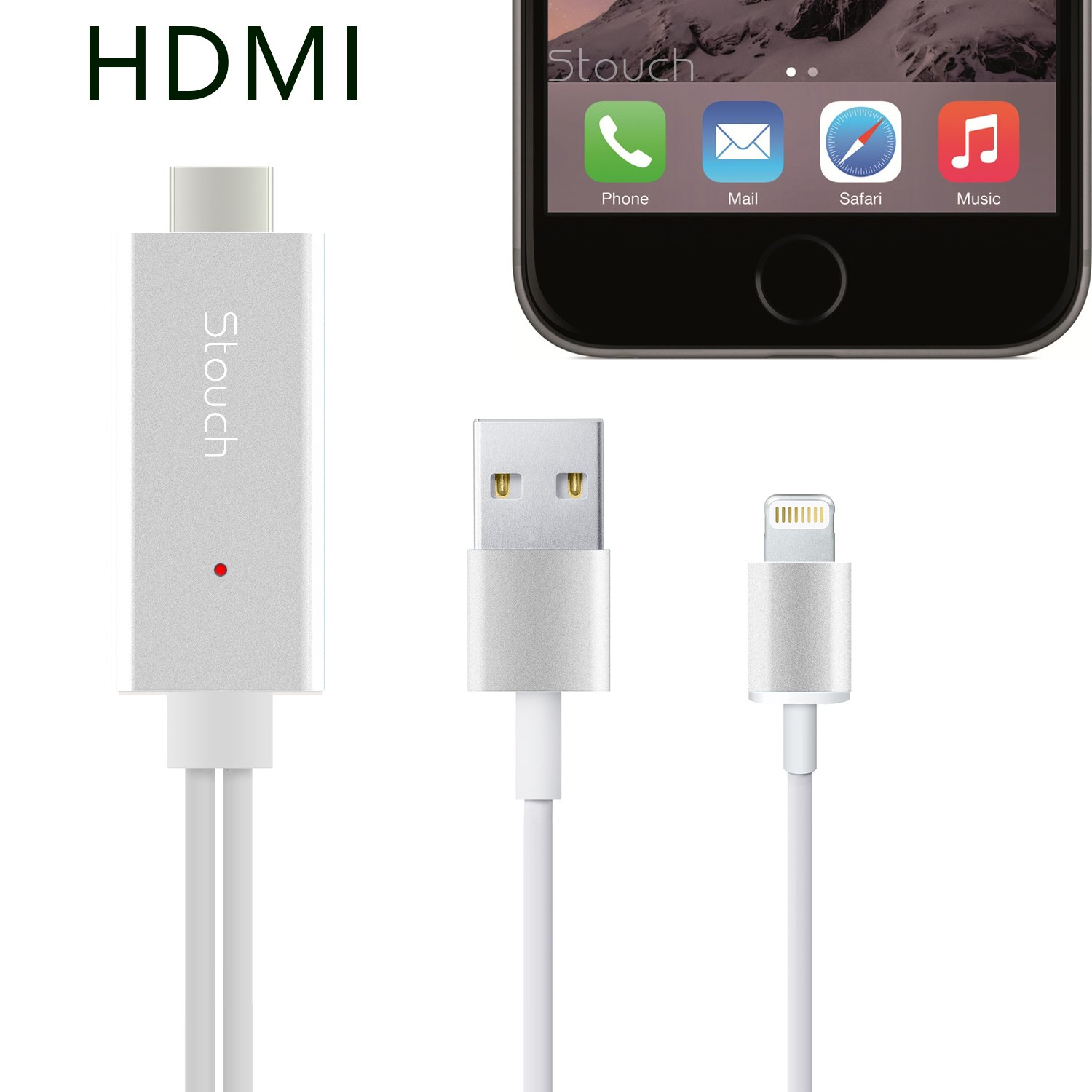 galleon stouch lightning mhl to hdmi cable 1080p hdtv adapter for iphone 5 5s 6 6s with. Black Bedroom Furniture Sets. Home Design Ideas