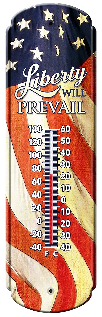 Reflective Art Liberty will Prevail Vintage Style Tin Thermometers, 5