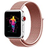 INTENY Sport Band Compatible with Apple Watch 40mm, Soft Lightweight Breathable Nylon Sport Loop, Strap Replacement for iWatch Series 4 (Rose Pink, 40mm) (Color: Rose Pink, Tamaño: 40 mm)