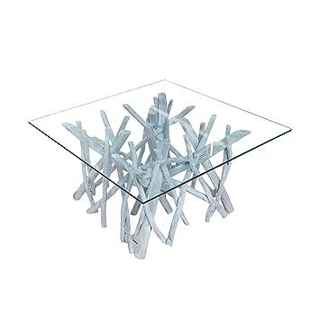 Massiver Teakholz Couchtisch DRIFTWOOD markant grau mit Glasplatte eckig Glastisch Holztisch Beistelltisch Massivholz