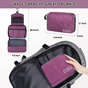 Hanging Toiletry Bag, Hizek Hanging Makeup Organizer Waterproof Cosmetic Travel Bag for Women with 4 Compartments & 1 Sturdy Hook,Perfect for Travel/Daily Use (Fuchsia)
