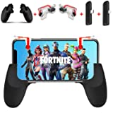 Anfiner PUBG/Fortnite mobile game controller more combo with portable Gamepad,Vertical charging Type-c adapter,Lightning-adapter, fit for Fortnite mobile/PUBG Mobile/Knives Out/Rules of Survival (Color: Black+Red, Tamaño: black red)