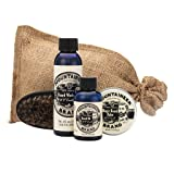 Beard Care Kit by Mountaineer Brand: All-Natural, Complete Beard Care in one Kit (WV Coal) Includes: Beard Oil, Beard Balm, Beard Wash, and Beard Brush (Color: Wv Coal)