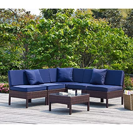 Naples Brown 6 Piece Deep Seating Group with Cushions (Navy)