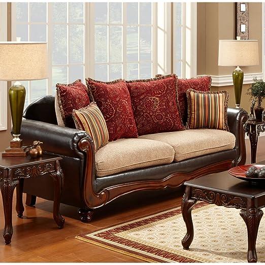 Chelsea Home Furniture Shirley Sofa, Del Ray Taupe/Milo/Bi-Cast Brown