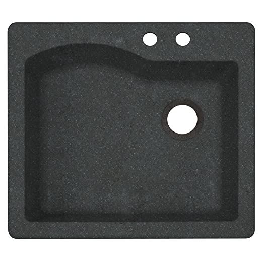 Swaoi|#Swanstone QZ02522SB.077-2B 22-In X 25-In Granite Kitchen Sink 2-Hole, Nero,