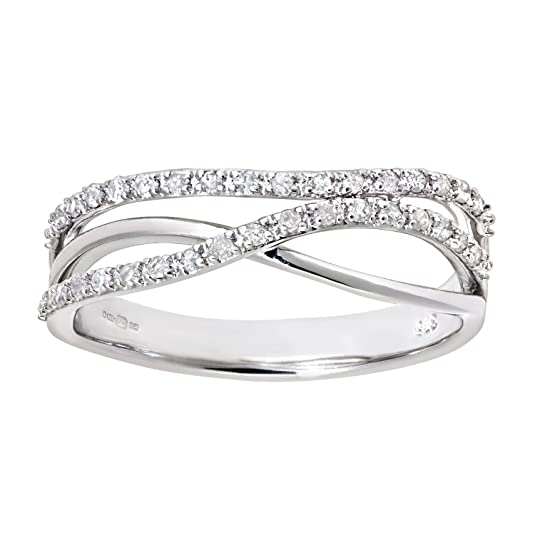 Naava 9ct White Gold 0.21ct Diamond Crossover Ring