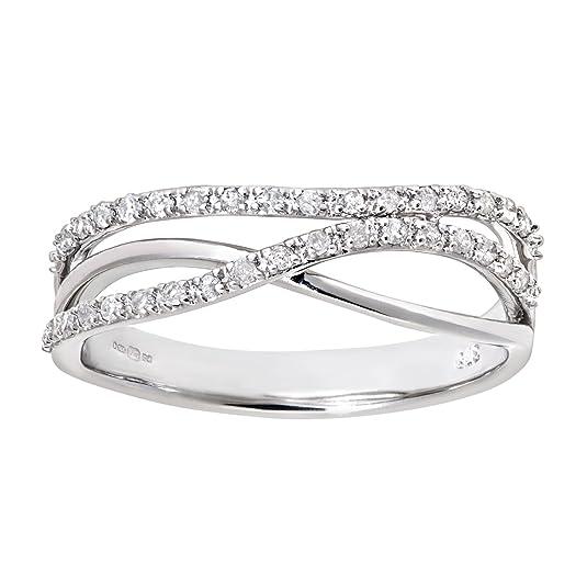 Naava 9ct White Gold 0.21ct Diamond Crossover Ring