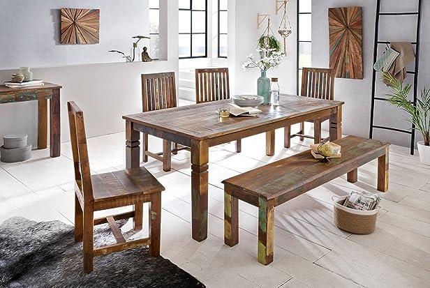 Tavolo per sala da pranzo design in legno di mango riciclata Delhi 180x 90x 76cm