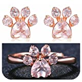 Dainty Statement Stud Earrings Ring Set 18K Rose Gold Filled Cubic Zirconia Jewelry Adjustable Ring for Puppy Lovers - 1 Pair Earring and 1 Ring (Color: 1 Pair Earrings and 1 Ring)