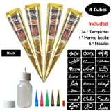 COKOHAPPY Temporary Tattoo Kit, 4 Tube Black Paste Cone Indian Body Art Painting Drawing with 24 x adhesive Stencil, 1 x Applicator Bottle and 5 x Plastic Nozzle (Color: 4 Black Mehdi)
