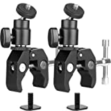 2Pack ChromLives Camera Clamp Mount Ball Head Monitor Clamp - Super Clamp and Mini Ball Head Hot Shoe Mount with 1/4-20 Tripod Screw for LCD/DV Monit