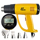 Poniie PN-H20 Digital Temperature Control LCD Heat Gun 1800W Heavy Duty Hot Air Gun 200~1300? for Crafts, Shrink Wrapping, Paint Remover (Color: Yellow/Black)