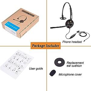 Arama Telephone RJ9 Headset Upgraded w/Noise Canceling Mic