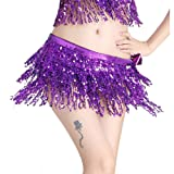 MUNAFIE Women's Belly Dance Hip Scarf Performance Outfits Skirt Festival Clothing Purple