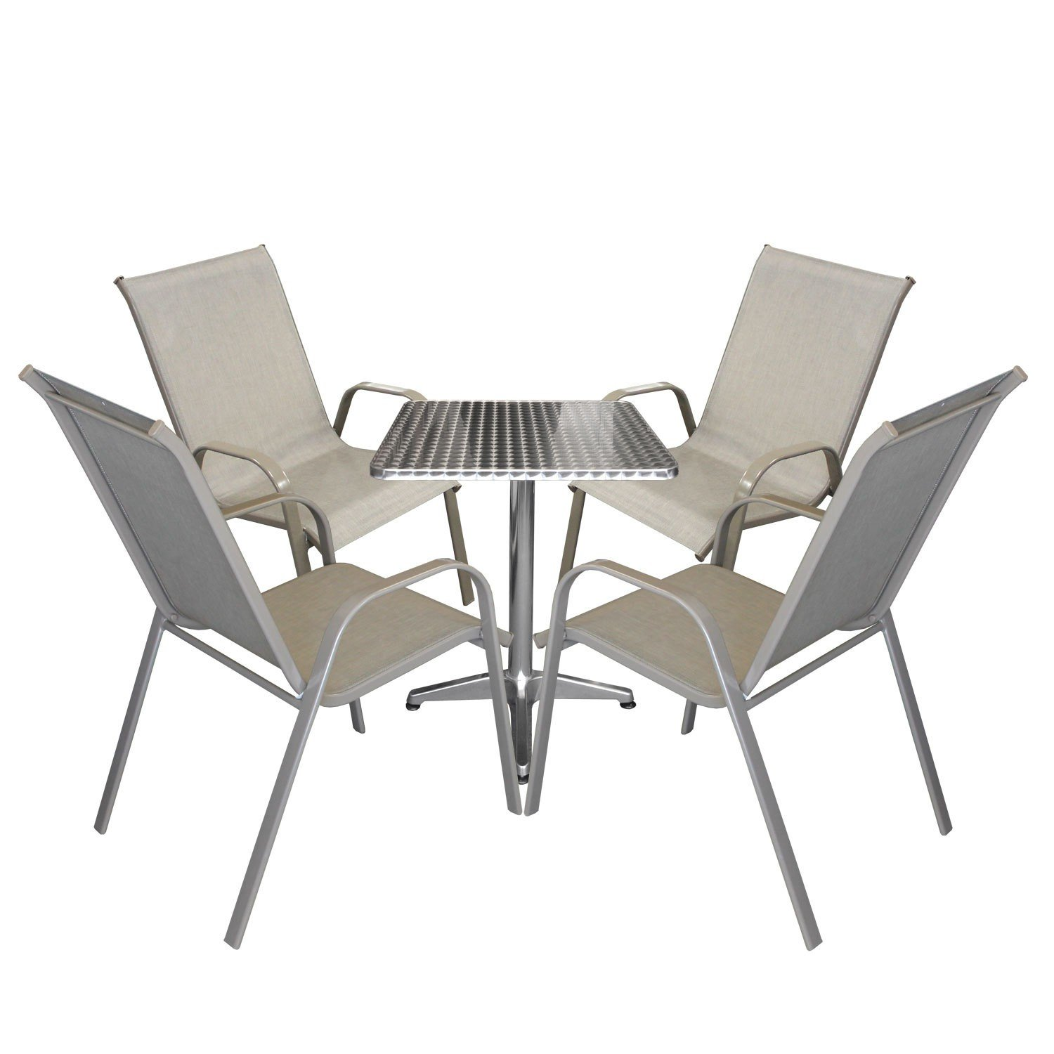5tlg bistrogarnitur bistro set balkonm bel aluminium bistrotisch 60x60x70cm gartenstuhl. Black Bedroom Furniture Sets. Home Design Ideas