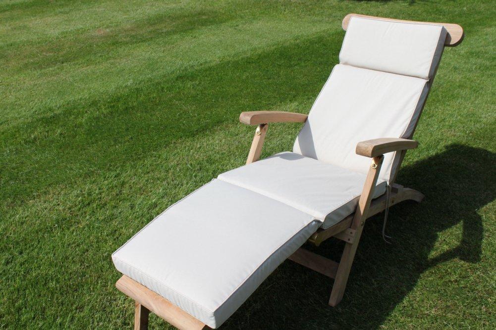 Gartenmöbel-Auflage - Auflage für Liegestuhl in Hellbeige